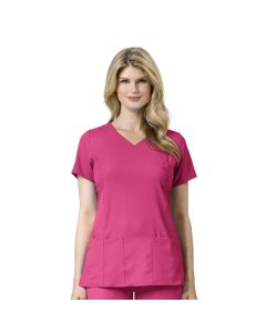 Women's Shirred Fashion Wrap Scrub Top 6225 By WonderWink